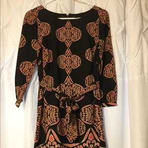 Ann Taylor Dress Size Small. Brown and Coral